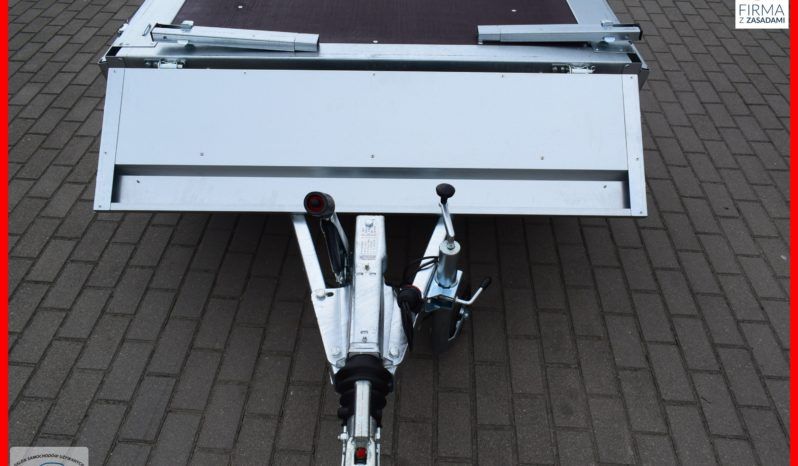 Przyczepa Neptun 263x145x40 2-osie + Hamulec najazdowy ( na dwie osie ) , DMC 1300 kg , Nowa, Platforma, Gwarancja full