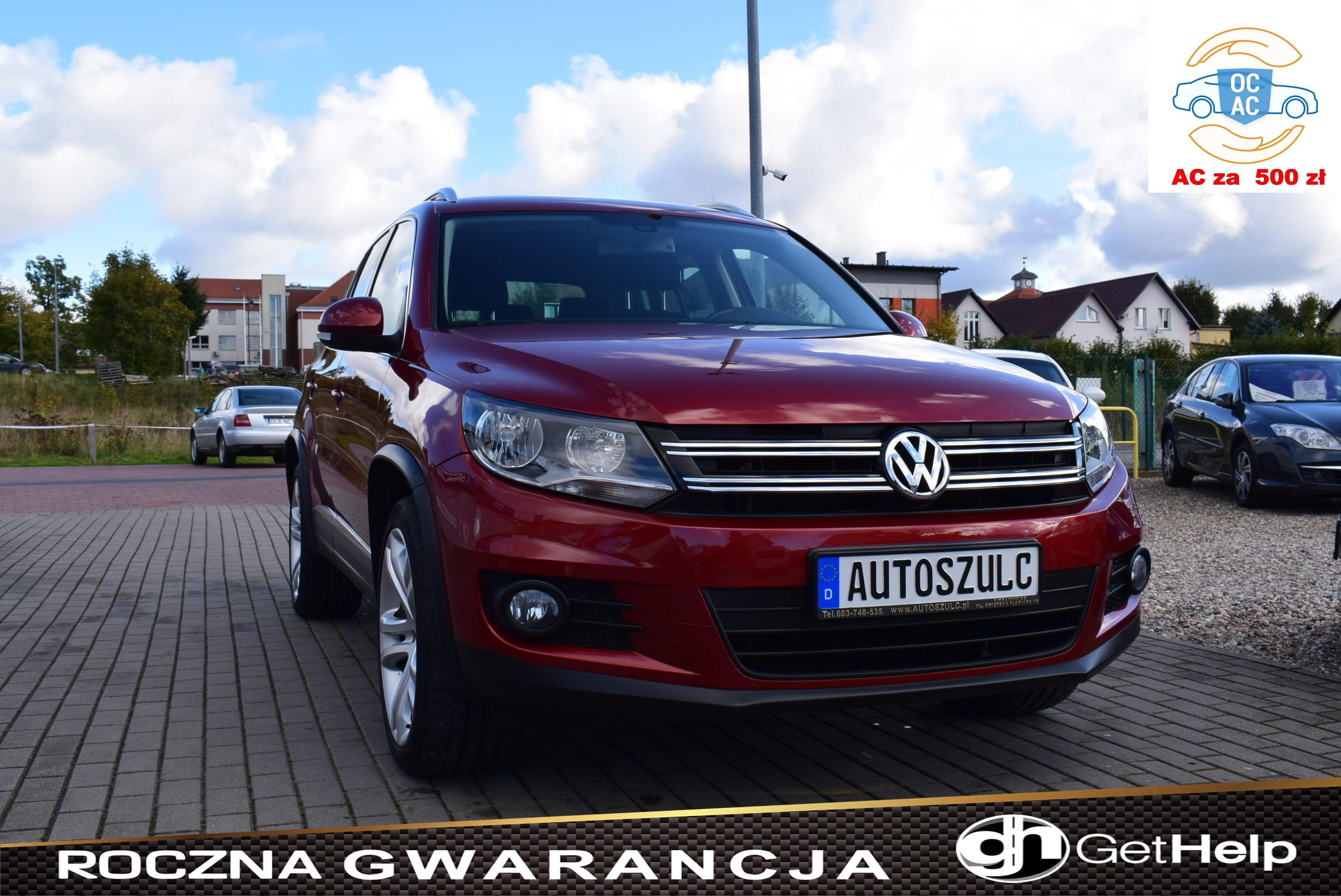 VW Tiguan 2.0 TDI common rail, Pakiet Chrom, Niepsotykany kolor wiśniowy-metalik, Rok Gwarancji