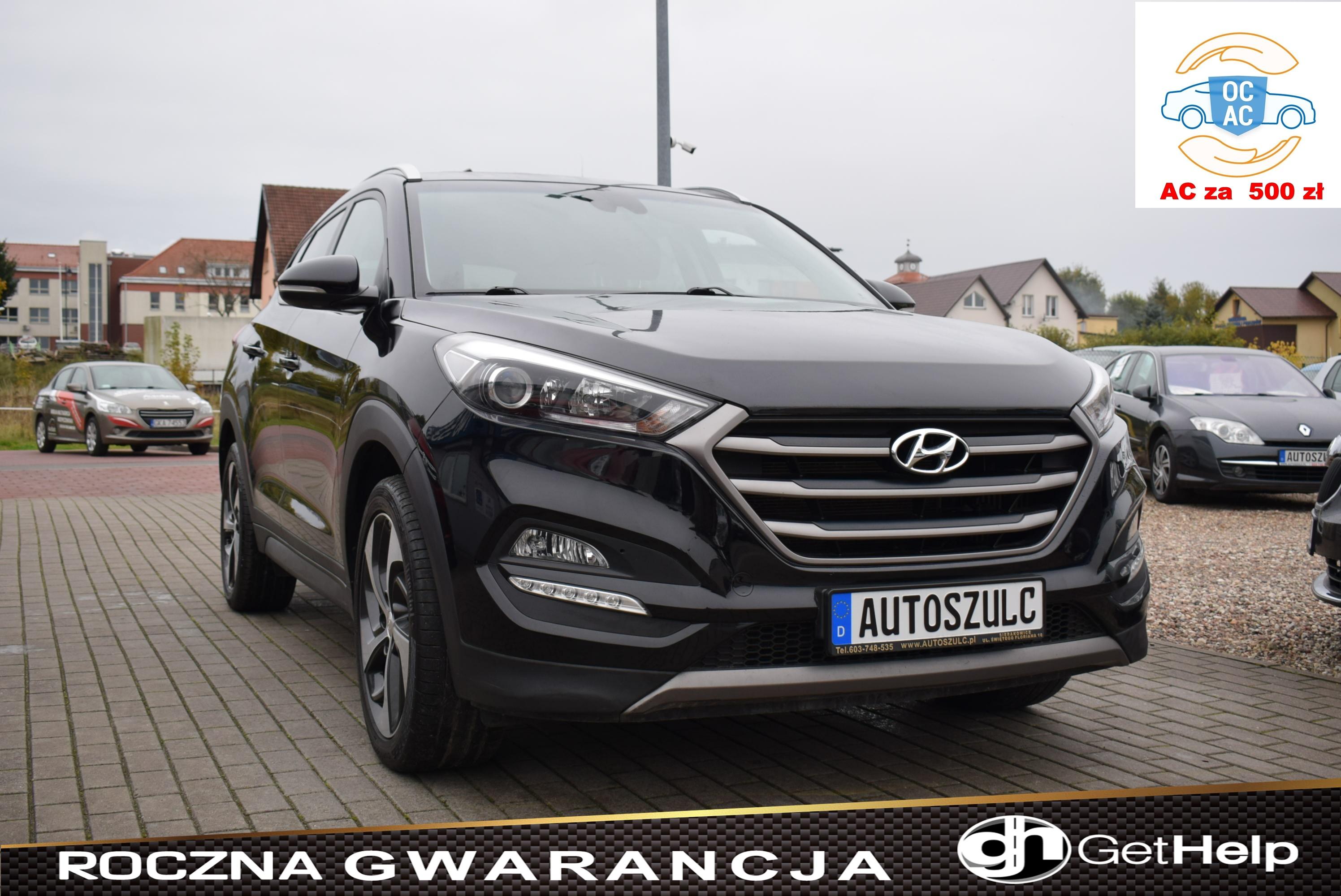 Hyundai Tucson 1.6 Benzyna, Czarny, Bogato wyposażony, Serwisowany, I-Właściciel, Rok Gwarancji